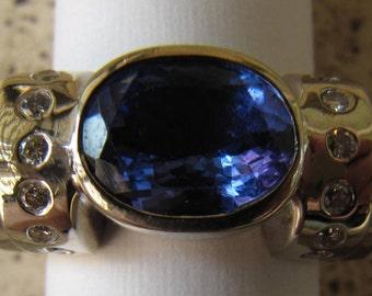 SALE Size 7 LeVian Huge Tanzanite & Diamond Ring