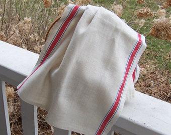 Vintage Homespun Linen Tea Towel/Kitchen Dish Towel