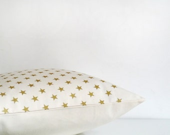 Cream and gold pillow, metallic gold star print on ivory organic cotton throw pillow, cream cushion cover, star pillow