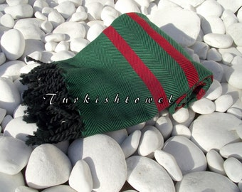 Turkishtowel-Soft-Highest Quality,Pure Organic Cotton,Hand Woven,Bath,Beach,Spa,Yoga,Travel Towel or Sarong-Red,Green and  Black