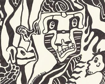 """Zen Art, Original Art, Black and White Print, Pattern Art, Marker Drawing, Small Art, The Beast, Hidden Boy"""" 5 x 7 PRINT Zen Drawing"""