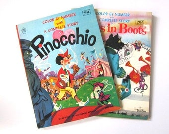 Pair of Vintage Color By Number Coloring Books, Pinocchio and Puss in Boots, Un-used