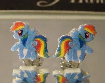 Rainbow dash My Little Pony Friendship is Magic Cartoon Stud Earrings - surgical steel