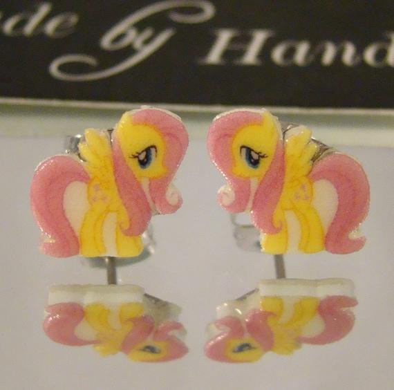 Fluttershy My Little Pony Friendship is Magic Cartoon Stud Earrings - surgical steel