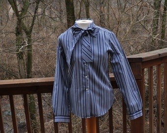 Blue and white striped blouse. Vintage Size 8 shirt. Top with Bow. Back to School blouse. Dressy suit blouse.