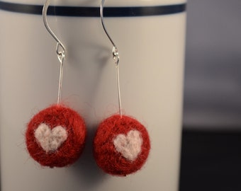Heart Earrings Red White Needle Felted Valentines Day