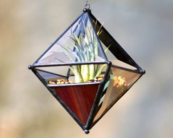 Pyramid Beveled Glass Orb Air Plant Planter with Variegated Dark Red Accent.