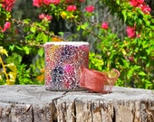 Candle, Scented Soy Candle, Sweet Pea Vanilla, Pink Mosaic Jar, Vegan Candles