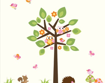 Wall Decals- Tree with Animals-Nursery Wall Decal Sticker Vinyl