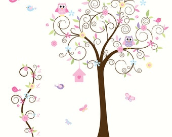 Wall Decals For Nursery-Children Tree Vinyl Wall Decal with Growth chart Birds Owls Flowers
