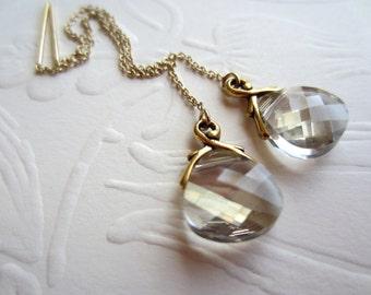 Silvery Teardrops-Gold Ear Threads-Antique Look