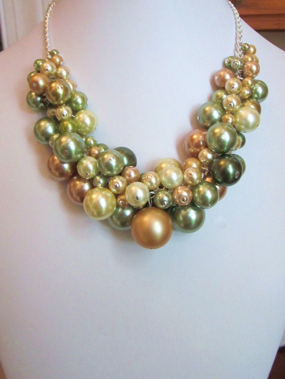 """Pearl Cluster Necklace in """"Shades of Olive Green and Gold"""" - Chunky, Choker, Bib, Necklace, Wedding, Bridal, Bridesmaid, Prom, Fun"""