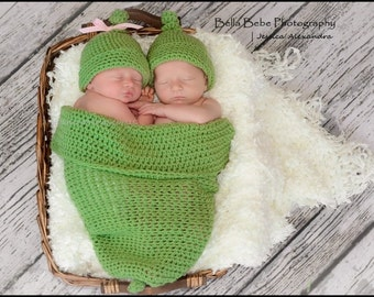 Newborn Two Peas in a Pod Photo Prop - Twins - Made to Order