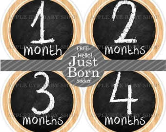 Baby Monthly Stickers FREE Baby Month Milestone Sticker Baby Month Stickers Baby Boy Bodysuit Sticker Photo Props Chalkboard Black