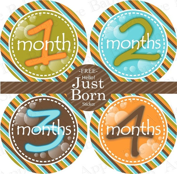 Baby Month Milestone FREE Month Baby Sticker Baby Month Milestone Stickers Baby Boy Bodysuit Stickers Orange Blue Brown Green Olive