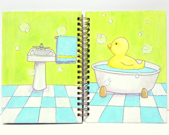 "5x7 upcycled hand painted, lined notebook or journal - ""ducky in a tub"""