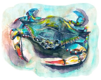 blue crab watercolor print signed by artist Stephanie Kriza
