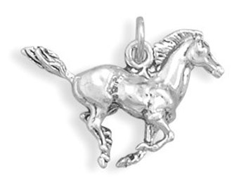 Horse Charm  925 Sterling Silver 3d Pendant Galloping Stallion