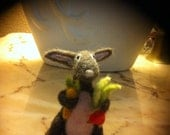 Easter Bunny Brown and Pink Holding Radish and Carrot Handcrafted Needle Felted Rabbit