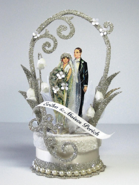 1920 S Deco Wedding Cake Topper By Patriciaminishdesign On