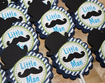 Mustache - Little Man Cupcake Toppers