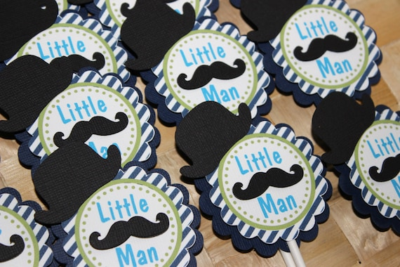 Cupcake Design For Man : Mustache - Little Man Cupcake Toppers by Paperlette ...