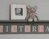 Nursery Decor - Wooden Letters For Nursery - Nursery Art - Baby Name Sign - Nursery Name Wall Art - Gray Shelf with Light Pink / Grey Tiles