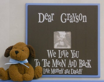 Personalized Nursery Wall Art Baby Nursery Decor in Brown and Blue Photo Frame - We Love You To The Moon And Back