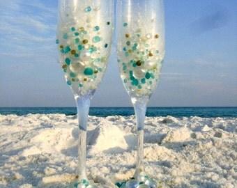 Blue wedding glasses Etsy