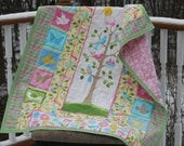 Flannel Crib Quilt/ Baby Girl/ Pastel Colors/ Tree of Life/ Quilted Patchwork