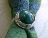 Chunky Green Aventurine Nugget in Argentium Sterling Ring Size 6 & a Half