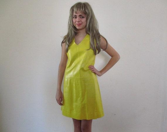 60s Vintage Yellow  Leather Dress Mod Hippie Samuel Blue