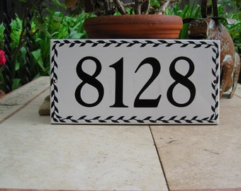 BLACK LEAF Pattern Custom Tile House Number , house numbers, address tile, address plaque, house number plaque