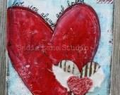 Original 8 x 10 Mixed Media Canvas Wall Art - Love & Hearts - Valentine's Day Art, Anniversary Art