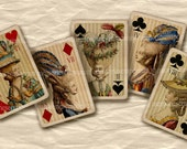 Marie Antoinette Playing Cards Ladies of the Court Shabby Chic Antique French Hairstyles Decoupage Hair Cards Digital Collage Sheet 414