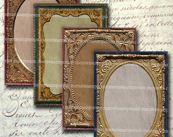 Antique Photo Frames ATC ACEO 2.5 x 3.5 inch Decoupage Scrapbook Album Backgrounds Digital Collage Sheet Printable Instant Download 161