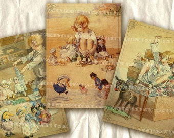 Childrens Story Book Illustrations Decoupage Picture Book ACEO ATC Drawings Paintings Digital Collage Sheet Download 120