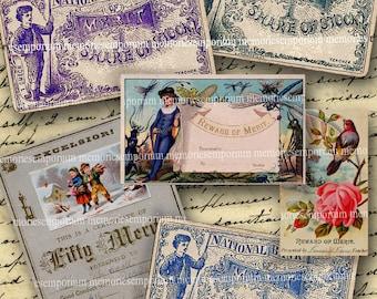 Reward of Merit Certificates Children School Days Antique Scrapbooking Journaling Education Digital Collage Sheet Instant Download 044