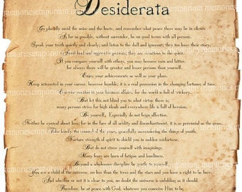 Desiderata Inspiration Poem Motivation Shabby Chic Inspirational Poetry Max Ehrmann Positive Motivational Digital Collage Sheet Download 420