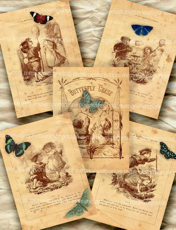 Children Butterfly Book Pages Antique Old Decoupage ACEO ATC Background Journaling Scrapbook Album Digital Collage Sheet 297