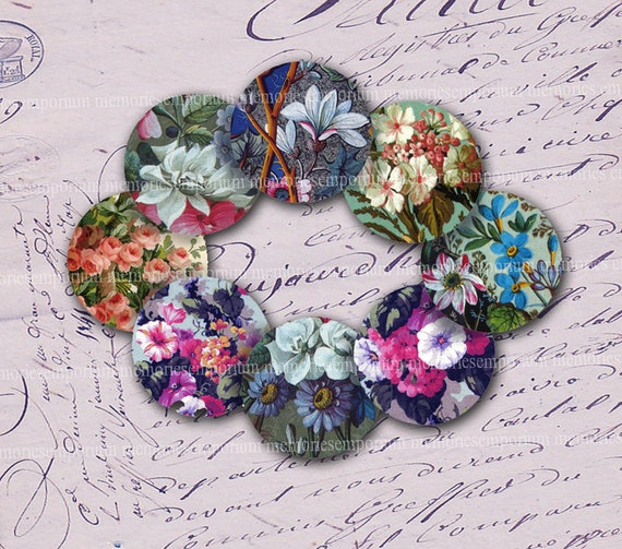 Victorian Floral Inchies Circles One 1 Inch Antique Decoupage for Pendant Bezels Bottlecap Buttons Jewelry Digital Collage Sheet 077