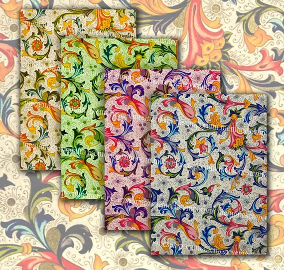 Florentine Pattern Italian Design Colour Swatches 2.5 x 3.5 inches ATC ACEO Backgrounds Digital Collage Sheet Download 098