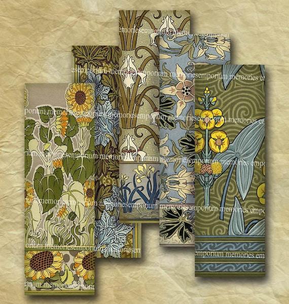 Art Nouveau Floral Patterns 1 x 3 inch Microscope Slides Jewelry Bezel Pendants Printable Instant Download 151