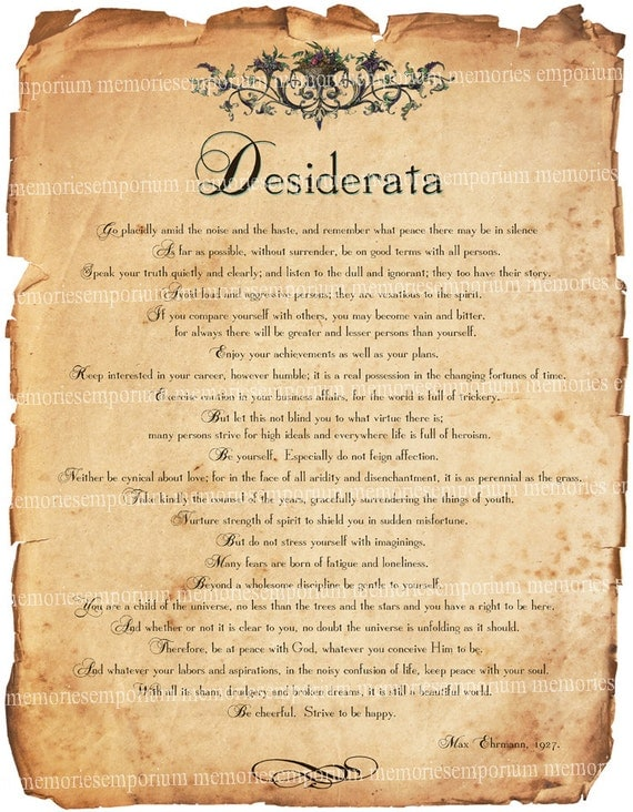 Desiderata Poem Printable
