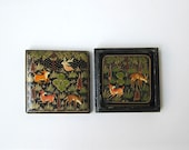 Vintage Indian kashmir hand painted deer paper mache laquerware coaster set.