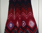 Crochet 1970-s long maxi hippie bohemian festival multicolor granny square zigzag  pattern skirt  OOAK