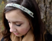 Mint green beaded crystal headband - headband fascinator, bridal headband, wedding headpiece