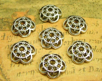 50 pcs Antique Silver Bead Caps 10mm Jewelry Making CH1472