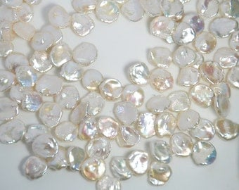12-14mm keshi shape freshwater pearls, top drilled, one full 15 inches strand, grade AAA, natural creamy white color
