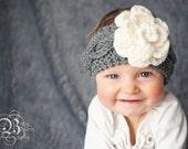 Newborn Baby Horizontal Braided Cable Headband w Flower //  Crochet Baby Headband //  Baby Girl knitted //Crochet Flower headband